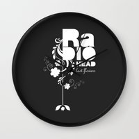 radiohead Wall Clocks featuring Radiohead song - Last flowers illustration white by LilaVert