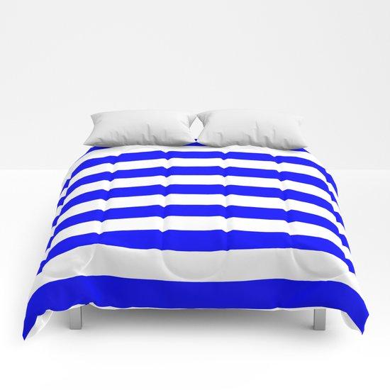 Horizontal Stripes (Blue/White) Comforters