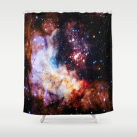 galaxy Shower Curtains featuring gALaxy  by 2sweet4words Designs