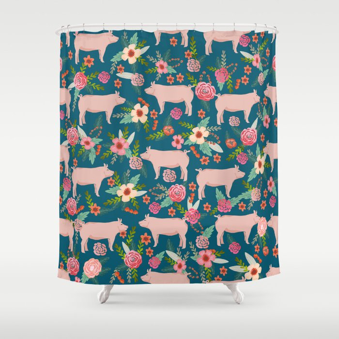 Pig Florals Farm Homesteader Pigs Cute Farms Animals Floral Gifts Shower Curtain