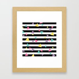 80's Black White Colorful Triangle Framed Art Print