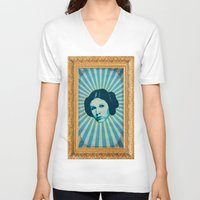 leia V-neck T-shirts featuring Leia by Durro