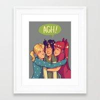 powerpuff girls Framed Art Prints featuring POWERPUFF HUGS by @avataraandy