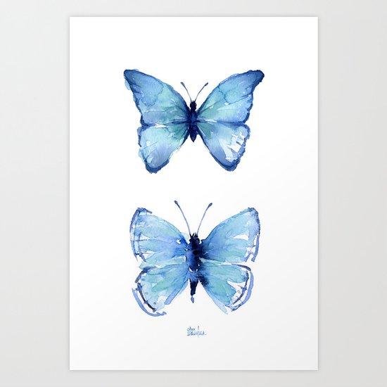 Two Blue Butterflies Watercolor by olechka