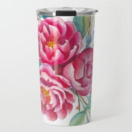 Watercolor flower composition with peonies and branches Travel Mug