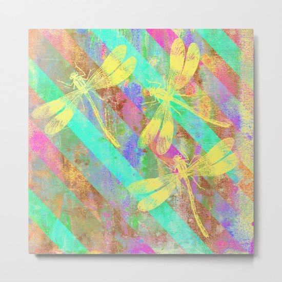 A Dragonflies and Stripes W Metal Print