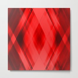 Hot triangular strokes of intersecting sharp lines with scarlet triangles and stripes. Metal Print