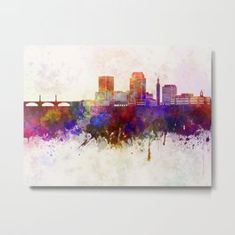 Springfield MA skyline in watercolor background Metal Print