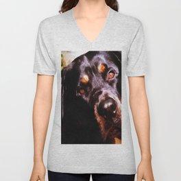 Rottweiler Dog Artistic Pet Portait Unisex V-Neck
