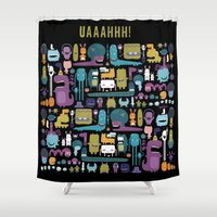 monsters Shower Curtains featuring MONSTERS by Piktorama