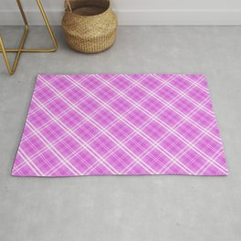 Popping Lilac Valentine Sweetheart Tartan Plaid Check Rug
