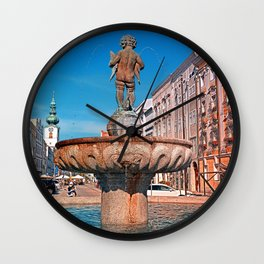 Naked boy bum on the water Wall Clock