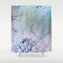 Girly Modern Pastel Marble Shower Curtain