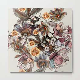 Tropical pattern with passionflower and magnolia flowers Metal Print