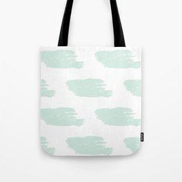 Mint & White Big Watercolor Stripes Tote Bag