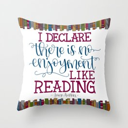 Jane Austen Quote (Deep Colors) Throw Pillow