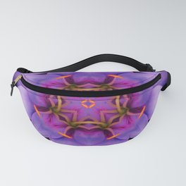 Purple Flower Kaleidoscope, Scanography Art Fanny Pack