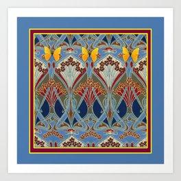 Grey-Burgundy Color & Yellow Art Nouveau Butterfly Design Art Print