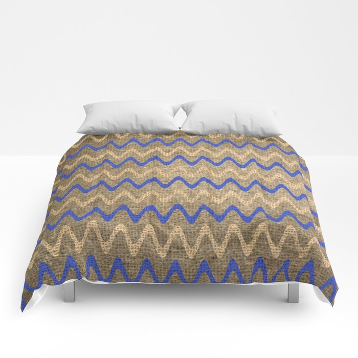 Blue and Tan Zigzag Stripes on Grungy Brown Burlap Graphic Design Comforters