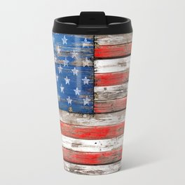 USA Vintage Wood Travel Mug