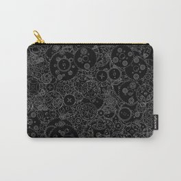 Clockwork B&W inverted / Cogs and clockwork parts lineart pattern Carry-All Pouch