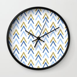 Hand Painted Arrows Pattern - Gold and Blue Palette Wall Clock