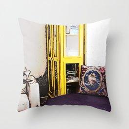 Yellow Bookcase Throw Pillow
