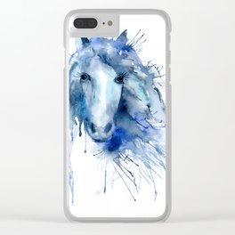 Watercolor Horse Portrait Paint Splatter Clear iPhone Case