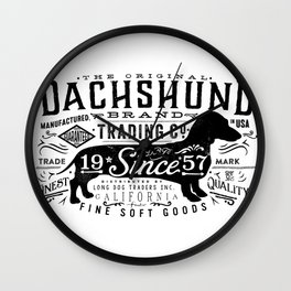 Dachshund trading company long dog graphic art illustration typography Wall Clock
