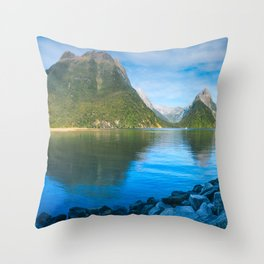 Serene Morning at Milford Sound Throw Pillow