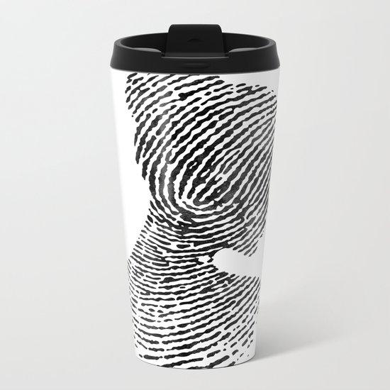 Fingerprint Silhouette Portrait No.1 Metal Travel Mug