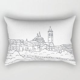 Hand drawn skyline of Citta Alta Bergamo, Italy Rectangular Pillow