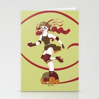 roller derby Stationery Cards featuring Roller Derby Kicks Ass by Luckyirishlass