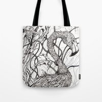 rare Tote Bags featuring Rare Bird by Shanna Duncan