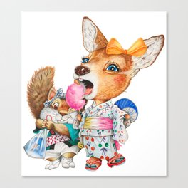 A child deer and squirrel at the summer festival Canvas Print