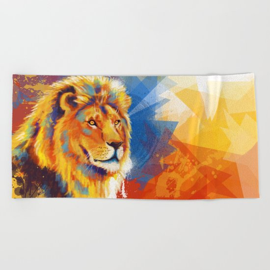 Majesty - Lion portrait Beach Towel