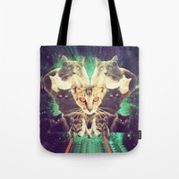 saga Tote Bags featuring Galactic Cats Saga 1 by Carolina Nino