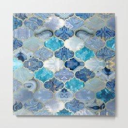 Moroccan trellis Blue Mineral Textures Metal Print