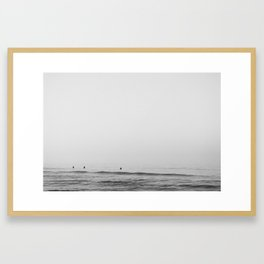 Surfers - Black and White Ocean Photography Huntington Beach California Framed Art Print