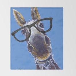 Donkey With Glasses Art, Blue Donkey Throw Blanket