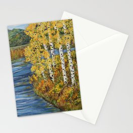 Autumn in the Mountains, Fall Decor, Aspen Birch Tree Painting Stationery Cards