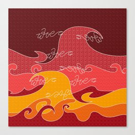 Waves V red colors All Over Print Shirts V2 Canvas Print
