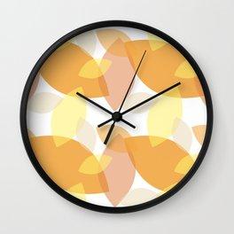 Leafy Wonder - II - White Yellow Peach Orange  Wall Clock