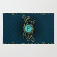 monogram Area & Throw Rugs featuring Monogram F by Britta Glodde