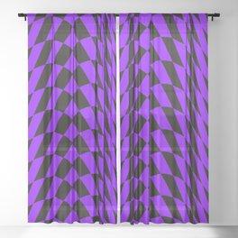 Purple checkered streak Sheer Curtain