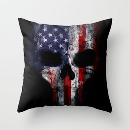 American Flag Punisher Skull Grunge Distress USA Throw Pillow