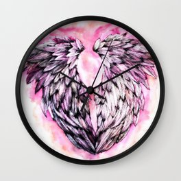 Pink Angel Wings  Wall Clock