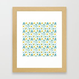 Summer flowers in yellow and blue in white background Framed Art Print