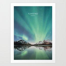 Northern Lights in Flakstad Norway Artwork Art Print