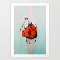 rowing Art Prints featuring Rowing through own antipodes by Sandra Izquierdo